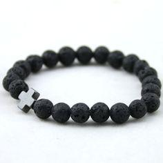 BLACK - Lava Volcanic Stone Cross Bracelet (8mm)    https://beautifultouch.com/
