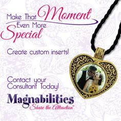 Customize your Magnabilities jewelry with your photo or art. Many styles of pendants to choose from.