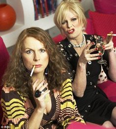 #abfab Absolutely Fabulous fame - Joanna Lumley & Jennifer Saunders doing what they do best.. Smoke & Drink!