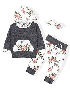 2647f1076 Baby Girls Long Sleeve Flowers Hoodie Tops and Pants Outfit with Kangaroo  Pocket Headband: Clothing