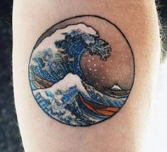 Wave tattoo enclosed in a circle. It is a simple wave tattoo that is framed by a thing circle. Inside you can see a group of waves in the ocean rocking a single traveling boat.