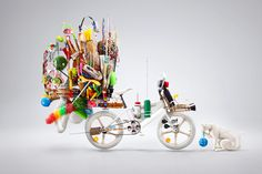 "Karim Zariffa was inspired by those bicycle you see in asia packed with stuff. Like a dollar store on wheels. Also got inspired by a small local trend in Mexico where kids ""pimp"" up their BMX. #bike #stillife"