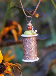 Etched and enameled bird house pendant  https://www.facebook.com/#!/karlaraejewelrydesigns
