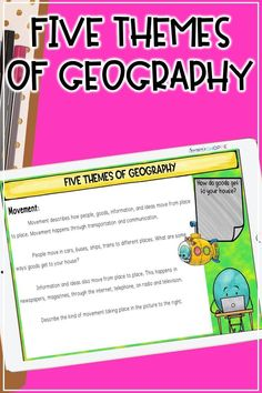 If you're looking for a five themes of geography activity for upper elementary social studies, this digital distance learning unit is for you! Teach your students about human-environment interaction, location, movement, place, and region with a Google Slides lesson and a five themes of geography writing activity. This distance learning activity is perfect for online teaching and learning in 4th, 5th, and 6th grade social studies! #upperelementary #socialstudies #distancelearning Five Themes Of Geography, Geography Activities, Writing Activities, 6th Grade Social Studies, Social Studies Resources, Introduction Activities, Human Environment, Map Skills, Upper Elementary