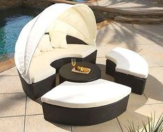 ►HUGE Wicker Rattan Outdoor Sun Lounger Canopy Day Bed Patio Set + Coffee Table