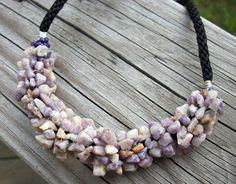 Purple Jade Gemstone Chip Kumihimo Necklace