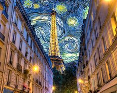 "photographic homage to Woody Allen's movie ""Midnight in Paris""  Paris streets in foreground, Eiffel Tower in background, and Vincent Van Gogh's Starry Night filling the sky.  Artist - Robert Crum"