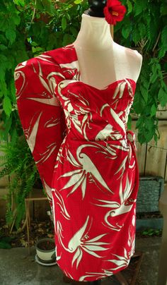 Vintage 50's Red White Hawaiian Alfred Shaheen Strapless Sarong Dress