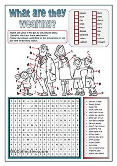 Students match the words given related to clothes to the letters in the picture. Then they find those words in a wordsearch. Finally they colour the picture according to the instructions given. Key provided  - ESL worksheets