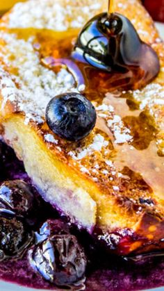 Overnight Blueberry French Toast Casserole ~ This simple make-ahead casserole is kind of like a blueberry pie covered in French toast. Buttery, breakfast-y goodness.