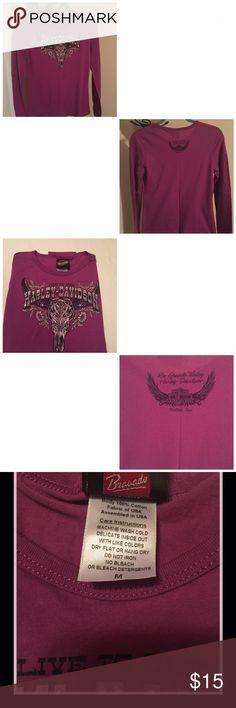 Harley Davidson long sleeve shirt Dark purple, live to ride Harley Davidson long sleeve shirt. Size Medium, in new condition. Bought in Rio Grande Valley, McAllen Texas. Harley-Davidson Tops Tees - Long Sleeve
