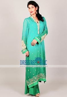 Pakistani Designer Outfits for Wedding Guests in Turquoise