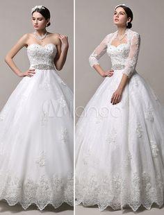 Sweetheart Neckline Rhinestones Detailing Removable Train Wedding Dress with Shawl