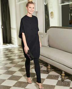 Image via Goop Gwyneth Paltrow in all black outfit Capsule Wardrobe, Look Office, Mens Dress Watches, Cocoon Dress, All Black Outfit, Gwyneth Paltrow, Work Fashion, Street Fashion, Latest Fashion