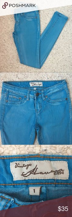 Vintage Havana Blue Jeans Good condition, stretchy material. Fun colored jeans for summer! Vintage Havana Jeans Skinny