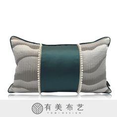 新中式绿色珍珠腰枕 云纹山纹腰枕 禅意水墨腰枕 有美布艺 Diy Pillows, Throw Pillows, Poufs, Bedding, Sleep, Curtains, Fabric, Bags, Accessories