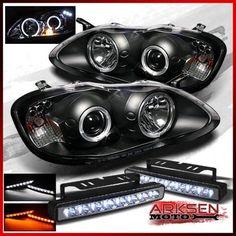 For 03 08 Corolla Twin Halo LED Projector Blk Headlights Tail Lamp Head Lights Corolla 2003, Corolla Xrs, Toyota Corolla, Projector Headlights, Led Projector, Halo Led, Cars, Black, Amber