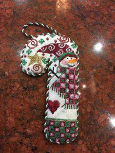 Danji Design  needlepoint snowman candy cane, Cheryl Huckaby designer (stitched by Veronica Campos)