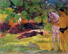 Gauguin. In the Vanilla Grove, Man and Horse (The Rendez-vous), 1891. Guggenheim Museum, NY.  www.artexperiencenyc.com