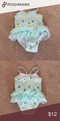 Pineapple Tutu Bathing Suit. Worn twice. Like new. Super cute for baby girl. Swim One Piece