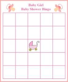 It's A Girl Baby Shower Bingo Templates