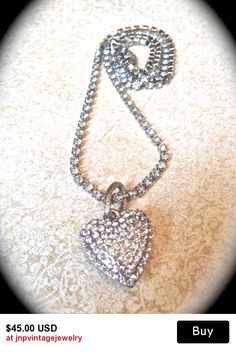 Pave Rhinestone Heart Pendant Necklace