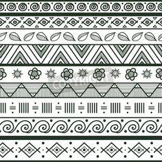 Tribal striped hand drawn seamless pattern Geometric black-white background Swatches of se