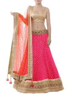 Bubbleum pink net lehenga with gold and copper metallic embroidery highlighted with sequins and beads on wide border and waist belt. Indian Lehenga, Lehenga Saree, Sarees, Anarkali, Punjabi Fashion, Asian Fashion, Indian Dresses, Indian Outfits, Indian Clothes