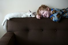 """Photographer Beth Mancuso based in Minnesota, created a lovable collection of pictures, named """"A Boy and His Cats"""", immortalizing the faithful friendship between her three sons and theirs two cats. Photographs that will touch you and make you smiling through the sincerity of this relationship."""