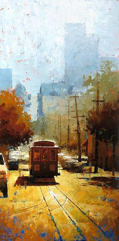 High-Noon Streetcar by David Cheifetz Oil ~ 36 x 18