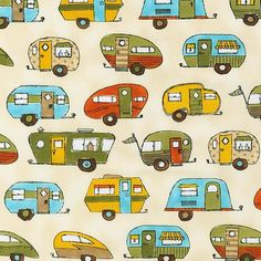 On the Road Summer by Robert Kaufman Fabrics camper trailers, campers and rv's on retro inspired cotton novelty fabric travel and transportation REMNANT Caravan Vintage, Vintage Travel, Vintage Campers, Vintage Trailers, Tiny Trailers, Vintage Caravans, Retro Fabric, Novelty Fabric, Camper Fabric