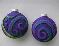 Spiral Swirl Christmas Ornaments in Purple by MysticDreamerArt