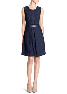 belted pinstripe dress - mango