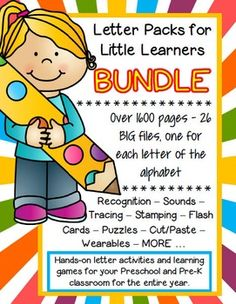 SALE!   Alphabet bundle - Letters for Little Learners - over 1600 pages – 26 BIG files, one for each letter of the alphabet. Low prep. Appropriate for pre-readers.   Recognition – Sounds - Tracing – Stamping – Flash cards - Puzzles – Cut/Paste – Wearables – MORE …  Hands-on letter activities and learning games for your Preschool and Pre-K classroom for the entire year.