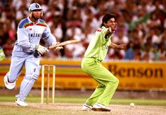 Wasim Akram: If Akram had only bowled one over in one-day cricket, he'd still be remembered for it: chasing 250 in the 1992 World Cup final, England had recovered to 141 for 4. In came Akram, round the wicket to Allan Lamb, and removed his off stump via reverse swing; next ball, to Chris Lewis, still round the wicket, Akram pitched it wide but it curled in the air and Lewis chopped it onto his middle stump. 55 wkts at 23.83 from 38 matches (1987-2003)