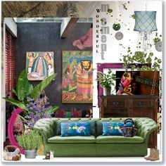 Boho home by betina-reali on Polyvore featuring interior, interiors, interior design, home, home decor, interior decorating, Burke Decor, Isabel Marant, Oscar de la Renta and PLANT