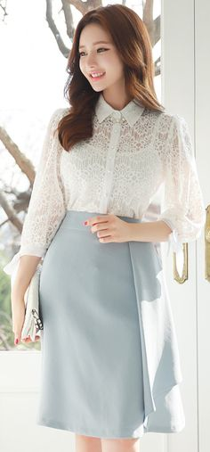 Ribbon Sleeve Lace Collared Blouse
