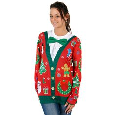 our womens christmas cardigan with bow long sleeve all over print shirt features a green - Womens Christmas Sweaters