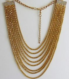 Vintage multi strands chain necklace by Antiqueandsupplies on Etsy