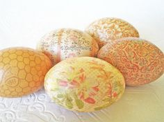 Easter Eggs Old World Honey Decoupage pastel peach cream coral honeycomb floral...By:CatnipStudioToo
