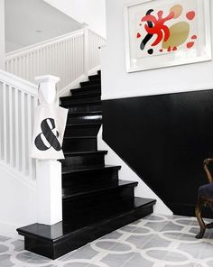 love the black and white stairs plus bright artwork by Lucifiernaga Black And White Stairs, Black Staircase, Black White, White Banister, Black Hallway, Black Walls, Black Wood, White Art, Painted Stairs
