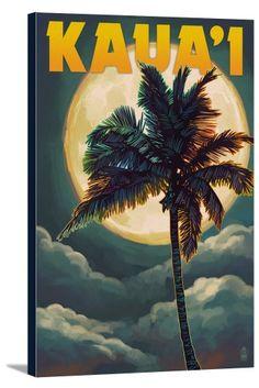 Kaua'i, Hawaii - Palm and Moon - Lantern Press Artwork (16x24 Gallery Wrapped Stretched Canvas), Multi