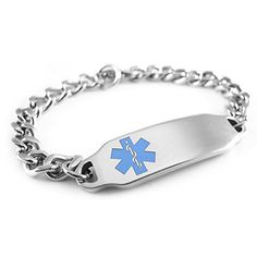 MyIDDr - Pre-Engraved & Customizable Diabetes Type II Alert ID Bracelet, Light Blue Symbol >>> Check this awesome product by going to the link at the image.