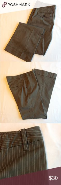 Banana Republic Martin Fit Pant Stretch cotton Martin fit pant size 4.  Army green / brown color with cream stripes. Cute button pockets on the back, normal hip pockets, button closure.  Leg has a slight boot cut feel with cuff. Lightweight cotton perfect for summer. Banana Republic Pants Boot Cut & Flare