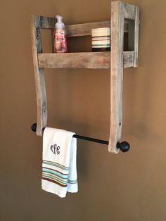 Repurposed Chair Towel Rack w/shelf                                                                                                                                                                                 More