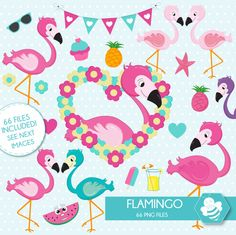 Flamingo Clipart, commercial use, flamingos digital clip art, bird digital images, by Sweetdesignhive on Etsy Clip Art, Show Jumping, Digital Image, School Stuff, Commercial, Kids Rugs, Bird, Unique Jewelry, Handmade Gifts
