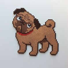 Pug hama dog beads by _the_creative_girls_ - Bügelperlen Perler Beads, Perler Bead Art, Fuse Beads, Pugs, Pug Dogs, Pearler Bead Patterns, Perler Patterns, Beading For Kids, Carlin