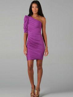 Column One-Shoulder-Rüschen Short Mini-elastische Gewebe Satin Cocktail Homecoming Kleider192,76 €   110,15 €