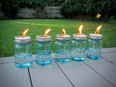 Mason Jar Oil Lams (With Citronella To Keep The Flies Away)