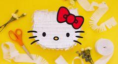 Hello Kitty Piñata | Sweet Happy News - Sanrio Yellow Paper, Red Paper, Black Paper, Hello Kitty Pinata, Hello Kitty Birthday, Crepe Paper Streamers, Stuff To Do, Things To Sell, Sanrio Characters